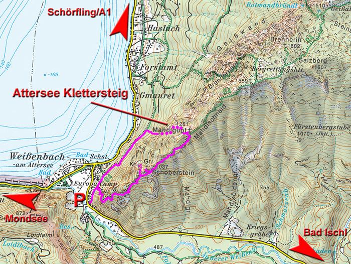 Klettersteig Map : Mahdlgupf u eattersee klettersteigu c d höllengebirge